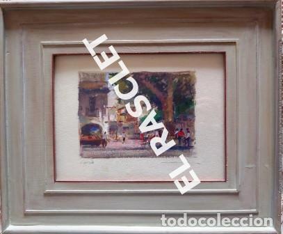 PINTURA OLEO SOBRE PAPEL - CON MARCO Y CRISTAL -PLAÇA LLANÇA - JOSEP MARFA GUARRO - DE -BCN -1990 - (Arte - Pintura Directa del Autor)