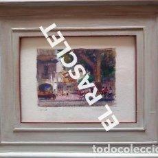 Arte: PINTURA OLEO SOBRE PAPEL - CON MARCO Y CRISTAL -PLAÇA LLANÇA - JOSEP MARFA GUARRO - DE -BCN -1990 -. Lote 236761200