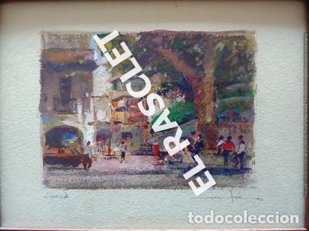 Arte: PINTURA OLEO SOBRE PAPEL - CON MARCO Y CRISTAL -PLAÇA LLANÇA - JOSEP MARFA GUARRO - DE -BCN -1990 - - Foto 2 - 236761200