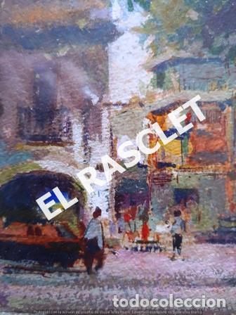 Arte: PINTURA OLEO SOBRE PAPEL - CON MARCO Y CRISTAL -PLAÇA LLANÇA - JOSEP MARFA GUARRO - DE -BCN -1990 - - Foto 3 - 236761200