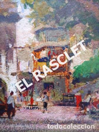 Arte: PINTURA OLEO SOBRE PAPEL - CON MARCO Y CRISTAL -PLAÇA LLANÇA - JOSEP MARFA GUARRO - DE -BCN -1990 - - Foto 4 - 236761200
