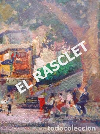 Arte: PINTURA OLEO SOBRE PAPEL - CON MARCO Y CRISTAL -PLAÇA LLANÇA - JOSEP MARFA GUARRO - DE -BCN -1990 - - Foto 5 - 236761200