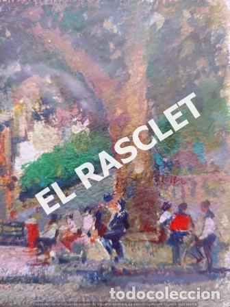 Arte: PINTURA OLEO SOBRE PAPEL - CON MARCO Y CRISTAL -PLAÇA LLANÇA - JOSEP MARFA GUARRO - DE -BCN -1990 - - Foto 6 - 236761200