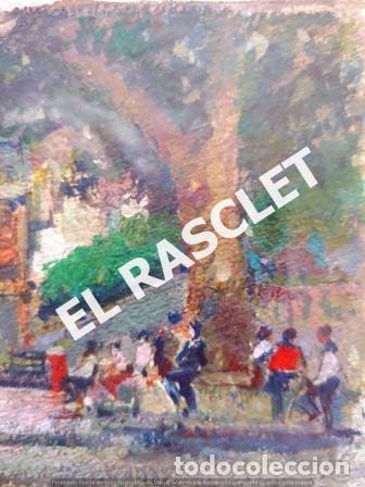 Arte: PINTURA OLEO SOBRE PAPEL - CON MARCO Y CRISTAL -PLAÇA LLANÇA - JOSEP MARFA GUARRO - DE -BCN -1990 - - Foto 7 - 236761200