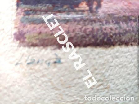 Arte: PINTURA OLEO SOBRE PAPEL - CON MARCO Y CRISTAL -PLAÇA LLANÇA - JOSEP MARFA GUARRO - DE -BCN -1990 - - Foto 8 - 236761200