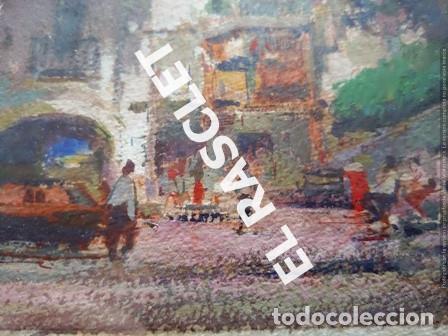 Arte: PINTURA OLEO SOBRE PAPEL - CON MARCO Y CRISTAL -PLAÇA LLANÇA - JOSEP MARFA GUARRO - DE -BCN -1990 - - Foto 10 - 236761200