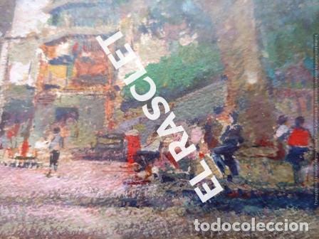 Arte: PINTURA OLEO SOBRE PAPEL - CON MARCO Y CRISTAL -PLAÇA LLANÇA - JOSEP MARFA GUARRO - DE -BCN -1990 - - Foto 11 - 236761200