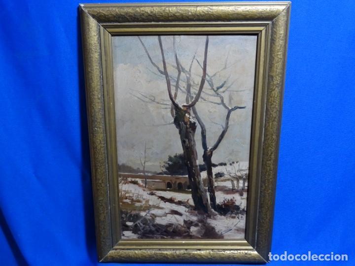 Arte: ÓLEO DE FRANCISCO GIMENO ARASA.PAISAJE NEVADO PUENTE DE PRAGA.ÉPOCA MADRILEÑA CON CARLOS DE HAES. - Foto 2 - 236808420