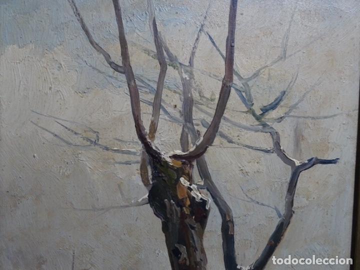 Arte: ÓLEO DE FRANCISCO GIMENO ARASA.PAISAJE NEVADO PUENTE DE PRAGA.ÉPOCA MADRILEÑA CON CARLOS DE HAES. - Foto 3 - 236808420