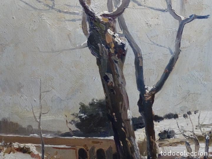 Arte: ÓLEO DE FRANCISCO GIMENO ARASA.PAISAJE NEVADO PUENTE DE PRAGA.ÉPOCA MADRILEÑA CON CARLOS DE HAES. - Foto 4 - 236808420