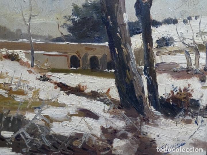Arte: ÓLEO DE FRANCISCO GIMENO ARASA.PAISAJE NEVADO PUENTE DE PRAGA.ÉPOCA MADRILEÑA CON CARLOS DE HAES. - Foto 5 - 236808420