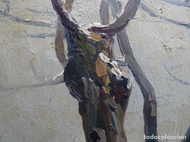 Arte: ÓLEO DE FRANCISCO GIMENO ARASA.PAISAJE NEVADO PUENTE DE PRAGA.ÉPOCA MADRILEÑA CON CARLOS DE HAES. - Foto 6 - 236808420