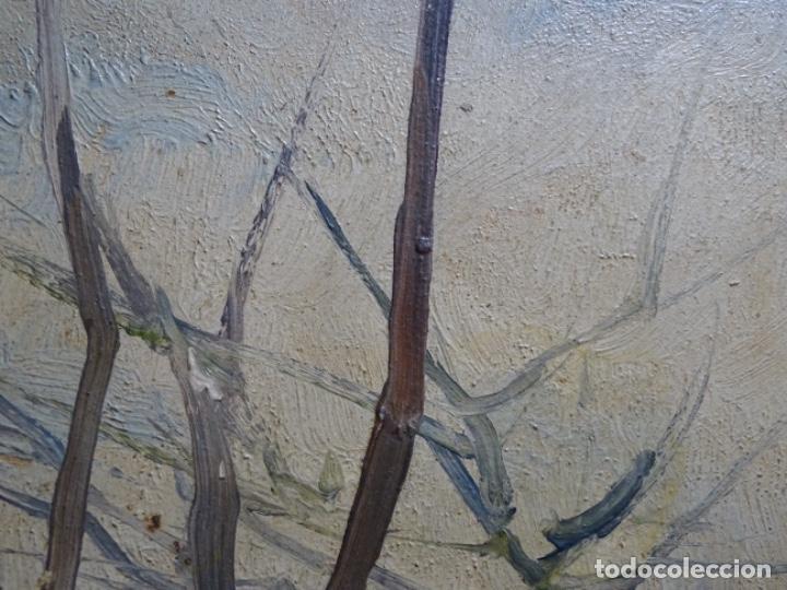 Arte: ÓLEO DE FRANCISCO GIMENO ARASA.PAISAJE NEVADO PUENTE DE PRAGA.ÉPOCA MADRILEÑA CON CARLOS DE HAES. - Foto 7 - 236808420