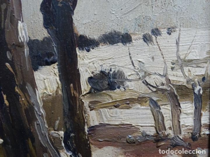 Arte: ÓLEO DE FRANCISCO GIMENO ARASA.PAISAJE NEVADO PUENTE DE PRAGA.ÉPOCA MADRILEÑA CON CARLOS DE HAES. - Foto 9 - 236808420