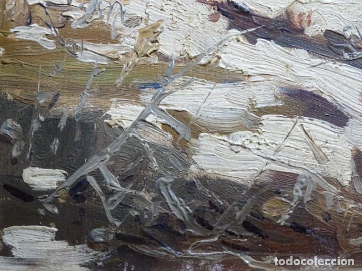 Arte: ÓLEO DE FRANCISCO GIMENO ARASA.PAISAJE NEVADO PUENTE DE PRAGA.ÉPOCA MADRILEÑA CON CARLOS DE HAES. - Foto 10 - 236808420
