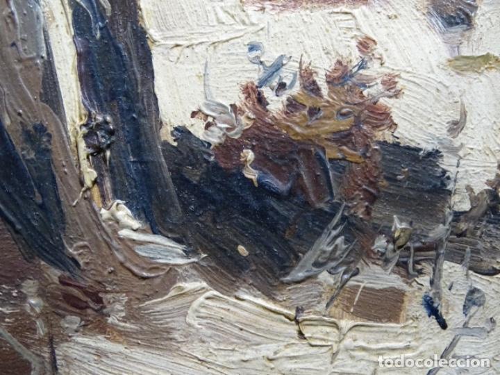 Arte: ÓLEO DE FRANCISCO GIMENO ARASA.PAISAJE NEVADO PUENTE DE PRAGA.ÉPOCA MADRILEÑA CON CARLOS DE HAES. - Foto 11 - 236808420