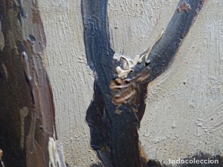 Arte: ÓLEO DE FRANCISCO GIMENO ARASA.PAISAJE NEVADO PUENTE DE PRAGA.ÉPOCA MADRILEÑA CON CARLOS DE HAES. - Foto 13 - 236808420