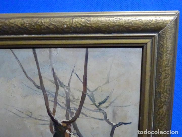 Arte: ÓLEO DE FRANCISCO GIMENO ARASA.PAISAJE NEVADO PUENTE DE PRAGA.ÉPOCA MADRILEÑA CON CARLOS DE HAES. - Foto 18 - 236808420