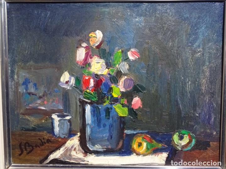 ÓLEO DE SEBASTIÀ BADIA CERDA(CALDES DE MONTBUI 1916-2009).BODEGON COLORIDO.ALUMNO DE MANOLO HUGUE. (Arte - Pintura - Pintura al Óleo Contemporánea )