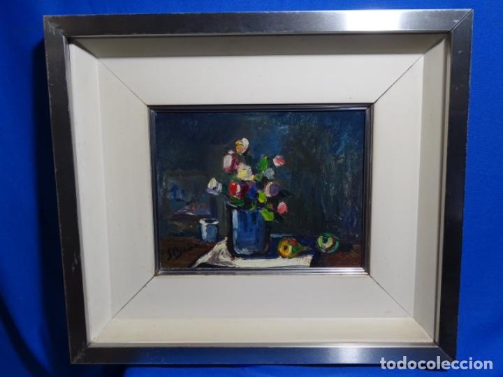 Arte: ÓLEO DE SEBASTIÀ BADIA CERDA(CALDES DE MONTBUI 1916-2009).BODEGON COLORIDO.ALUMNO DE MANOLO HUGUE. - Foto 2 - 236810535