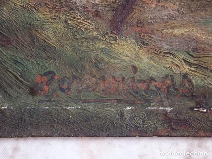 Arte: Bodegón de cerámica y frutas. Óleo sobre tabla. Cataluña, med. S. XX. Mide 40 x 50 cm. - Foto 46 - 236458095