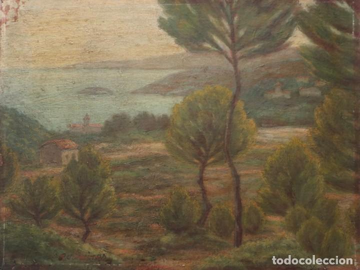 Arte: Bodegón de cerámica y frutas. Óleo sobre tabla. Cataluña, med. S. XX. Mide 40 x 50 cm. - Foto 48 - 236458095