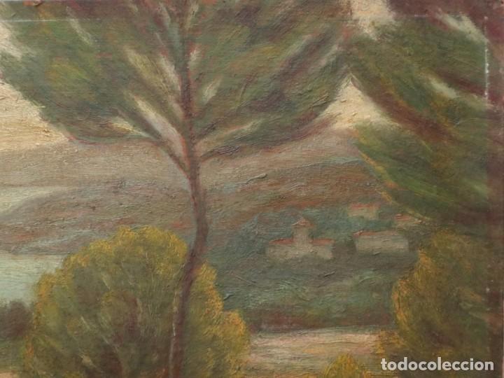 Arte: Bodegón de cerámica y frutas. Óleo sobre tabla. Cataluña, med. S. XX. Mide 40 x 50 cm. - Foto 50 - 236458095