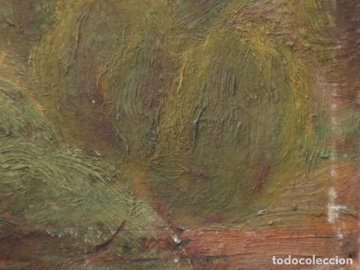 Arte: Bodegón de cerámica y frutas. Óleo sobre tabla. Cataluña, med. S. XX. Mide 40 x 50 cm. - Foto 51 - 236458095