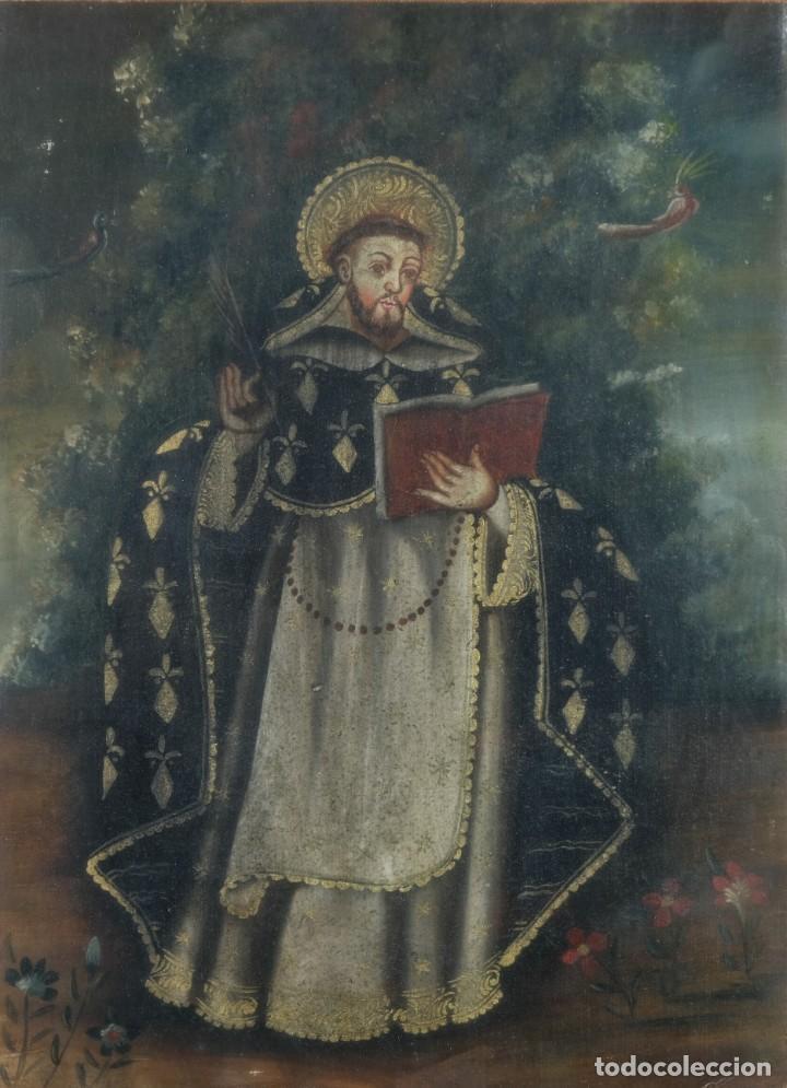 ÓLEO SOBRE LIENZO PEGADO A TÁBLEX SANTO ESCUELA COLONIAL SIGLO XVIII (Arte - Pintura - Pintura al Óleo Antigua siglo XVIII)