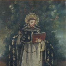 Arte: ÓLEO SOBRE LIENZO PEGADO A TÁBLEX SANTO ESCUELA COLONIAL SIGLO XVIII. Lote 236964500