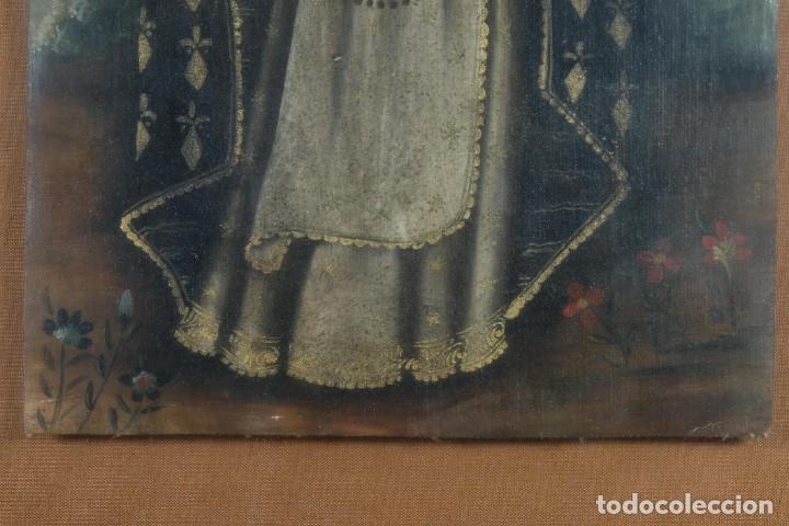 Arte: Óleo sobre lienzo pegado a táblex Santo Escuela colonial siglo XVIII - Foto 3 - 236964500