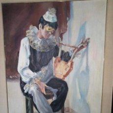 Arte: MARIA LUISA TEROL ARLEQUIN MUSICO OLEO. Lote 237209135