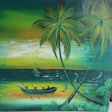 Arte: 2 CUADROS PINTADOS AL ÓLEO SOBRE TELA SACO ORIGINARIOS Y TRAÍDOS DE PUNTA CANA. Lote 237211285