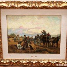 Arte: RICARDO BRUGADA I PANIZO - SEGANDO EL TRIGO - OLEO - 50 X 65 CM. PRECIOSO.. Lote 237402610
