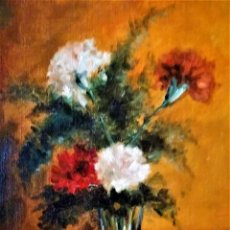 Arte: CRISTAL CON CLAVELES JOAN PARADIS PUIG 1921. Lote 237428950