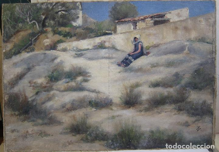 Arte: ESCENA ORIENTALISTA. OLEO SOBRE TELA. FIRMADO CON INICIALES. 32 X 45 CM - Foto 2 - 237478525