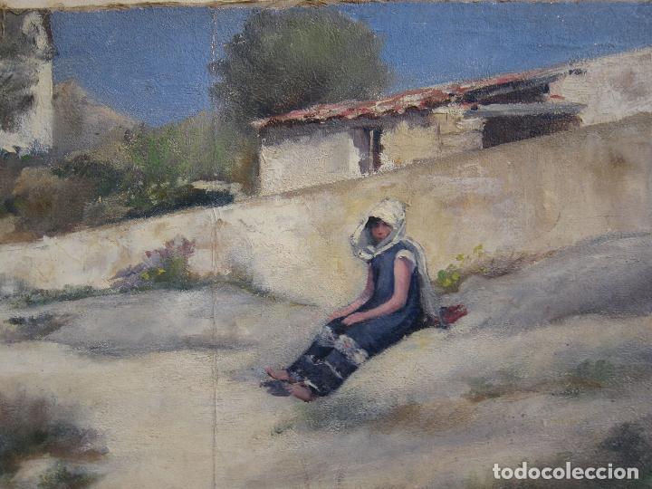 Arte: ESCENA ORIENTALISTA. OLEO SOBRE TELA. FIRMADO CON INICIALES. 32 X 45 CM - Foto 3 - 237478525
