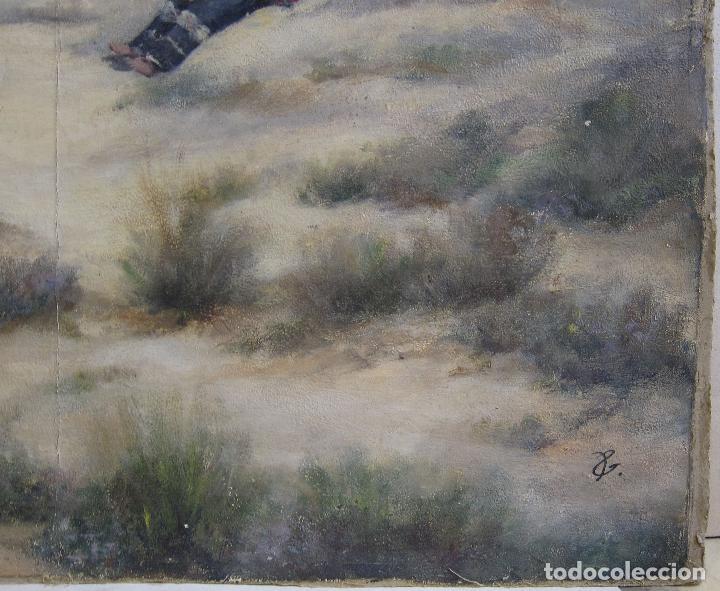 Arte: ESCENA ORIENTALISTA. OLEO SOBRE TELA. FIRMADO CON INICIALES. 32 X 45 CM - Foto 4 - 237478525