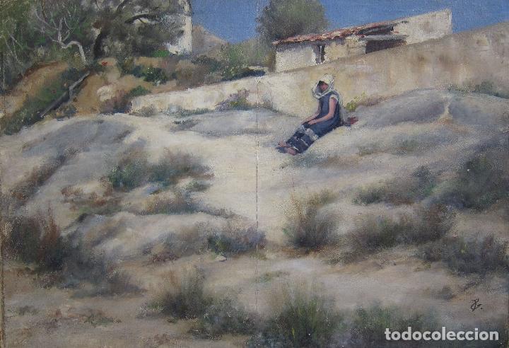 ESCENA ORIENTALISTA. OLEO SOBRE TELA. FIRMADO CON INICIALES. 32 X 45 CM (Arte - Pintura - Pintura al Óleo Moderna siglo XIX)