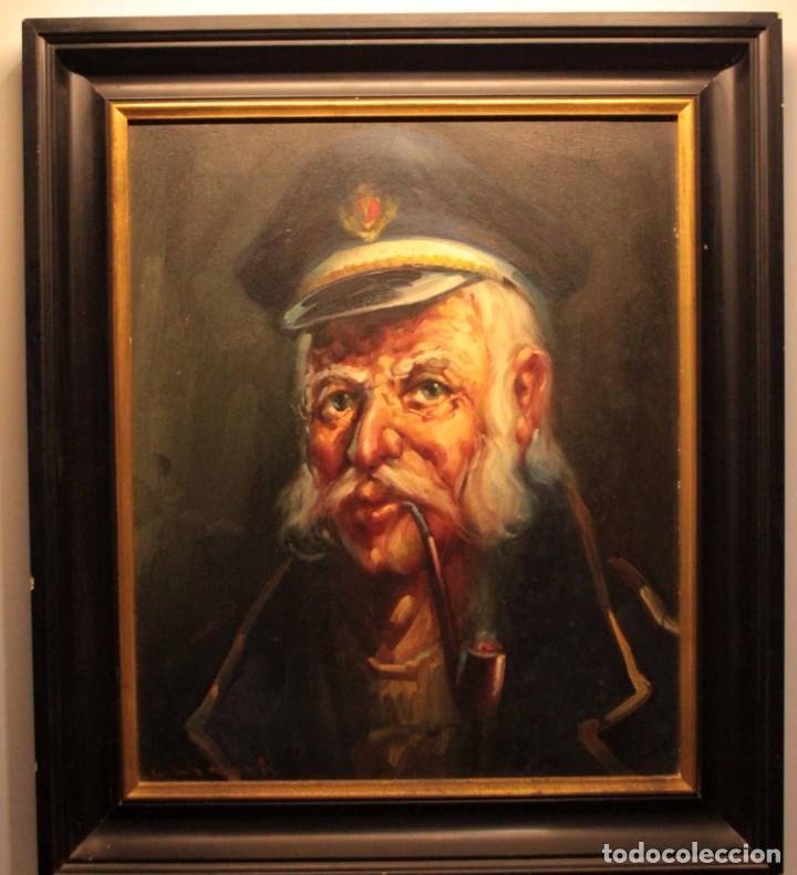 Arte: Oleo sobre lienzo. Excelente calidad. Firmado. El marinero. Primera mitad s.XX. enmarcado 57x49cm - Foto 19 - 237637860