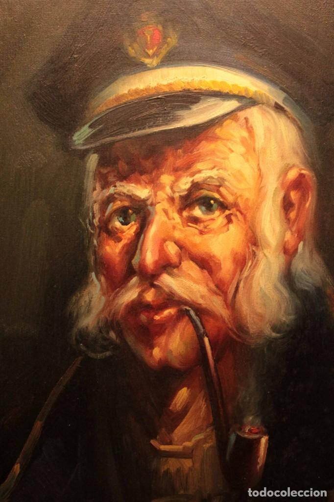 Arte: Oleo sobre lienzo. Excelente calidad. Firmado. El marinero. Primera mitad s.XX. enmarcado 57x49cm - Foto 2 - 237637860