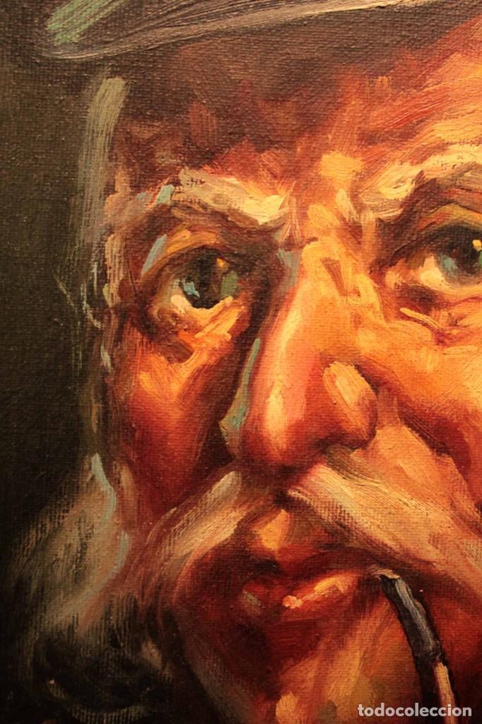 Arte: Oleo sobre lienzo. Excelente calidad. Firmado. El marinero. Primera mitad s.XX. enmarcado 57x49cm - Foto 3 - 237637860