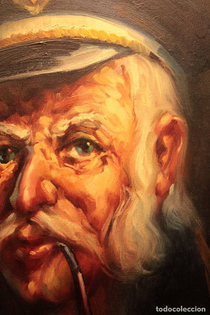 Arte: Oleo sobre lienzo. Excelente calidad. Firmado. El marinero. Primera mitad s.XX. enmarcado 57x49cm - Foto 4 - 237637860