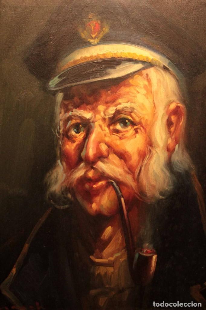 Arte: Oleo sobre lienzo. Excelente calidad. Firmado. El marinero. Primera mitad s.XX. enmarcado 57x49cm - Foto 5 - 237637860