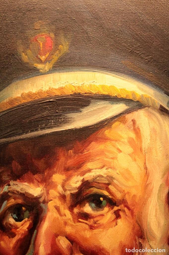 Arte: Oleo sobre lienzo. Excelente calidad. Firmado. El marinero. Primera mitad s.XX. enmarcado 57x49cm - Foto 7 - 237637860