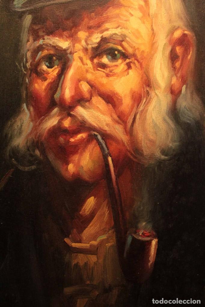 Arte: Oleo sobre lienzo. Excelente calidad. Firmado. El marinero. Primera mitad s.XX. enmarcado 57x49cm - Foto 8 - 237637860
