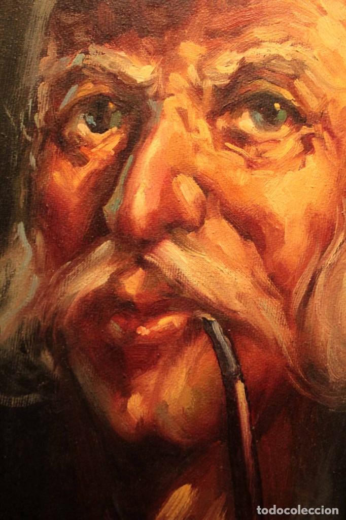 Arte: Oleo sobre lienzo. Excelente calidad. Firmado. El marinero. Primera mitad s.XX. enmarcado 57x49cm - Foto 10 - 237637860