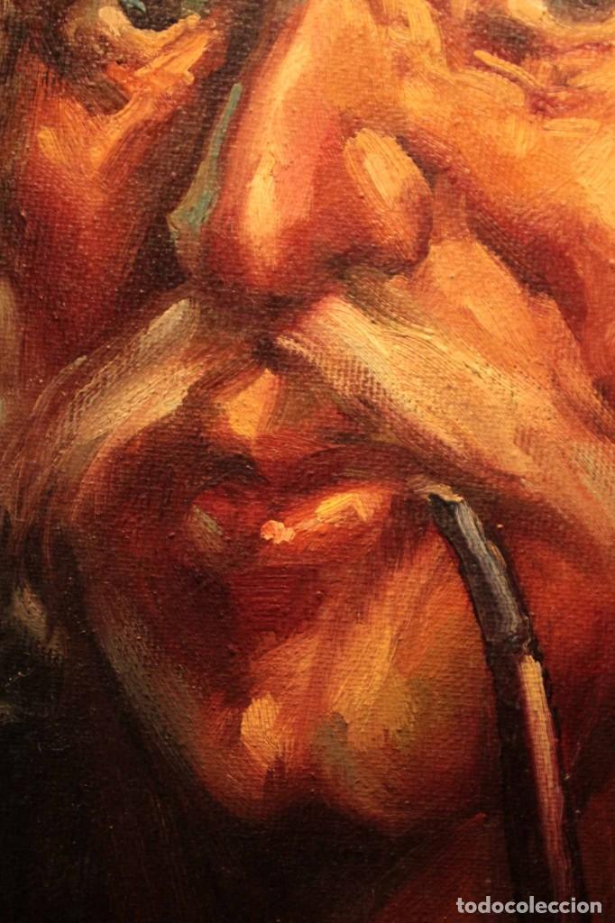 Arte: Oleo sobre lienzo. Excelente calidad. Firmado. El marinero. Primera mitad s.XX. enmarcado 57x49cm - Foto 11 - 237637860