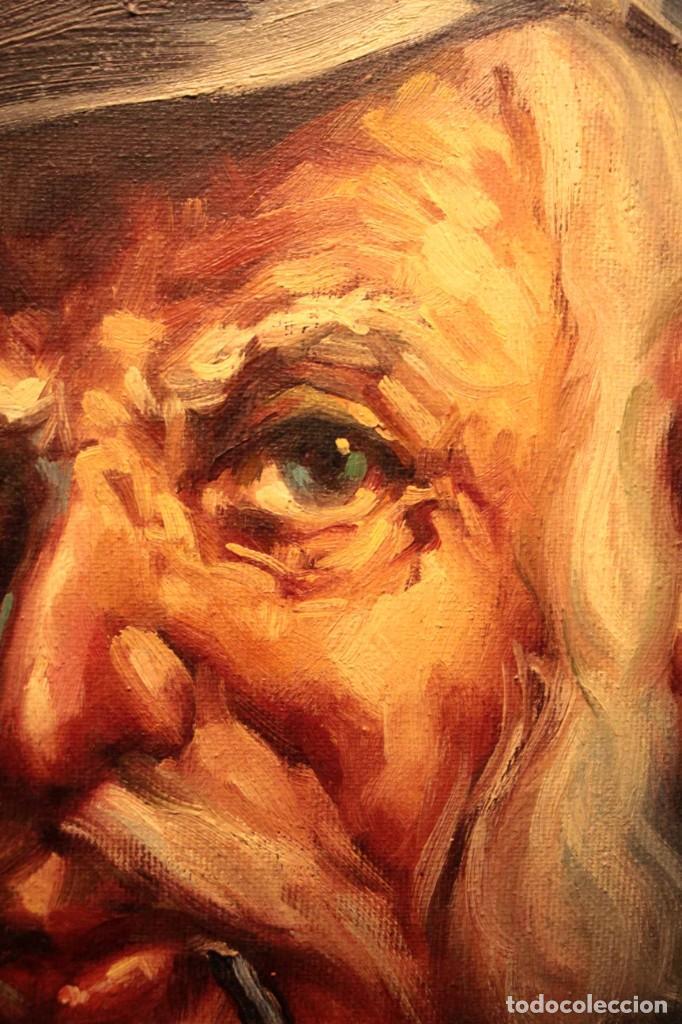 Arte: Oleo sobre lienzo. Excelente calidad. Firmado. El marinero. Primera mitad s.XX. enmarcado 57x49cm - Foto 12 - 237637860