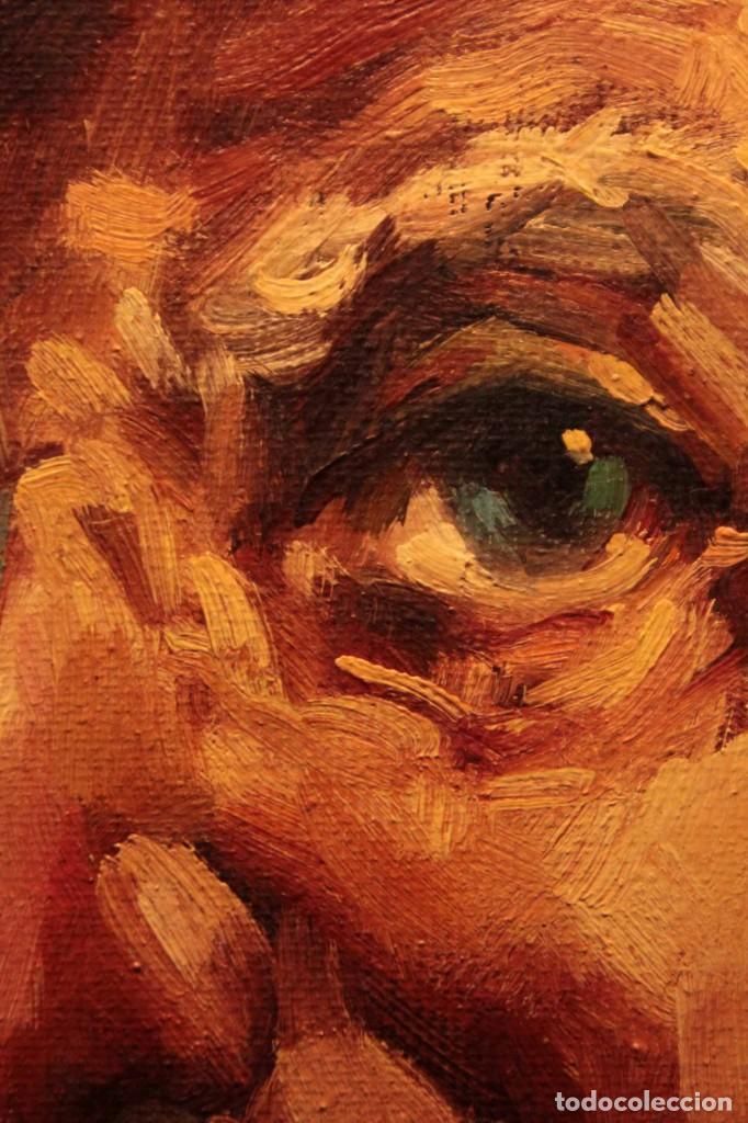 Arte: Oleo sobre lienzo. Excelente calidad. Firmado. El marinero. Primera mitad s.XX. enmarcado 57x49cm - Foto 13 - 237637860